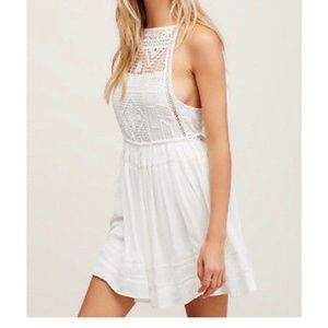 FREE PEOPLE EMILY SPAGHETTI STRAP MINI DRESS IVORY